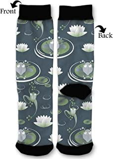 BLongTai Knee High Compression Socks Golden Flower for Women and Men Sport Crew Tube Socks