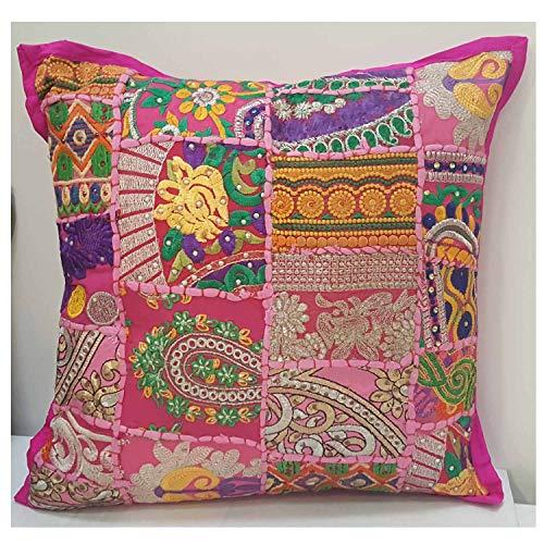 Orientalisches Patchwork Kissen Mar80 Rosa 40x40 cm inkl. Füllung mit Stickerei & Pailletten   Schöne Dekoration als Couchkissen Sofakissen Bodenkissen Sitzkissen & Geschenk-Idee   MA8003