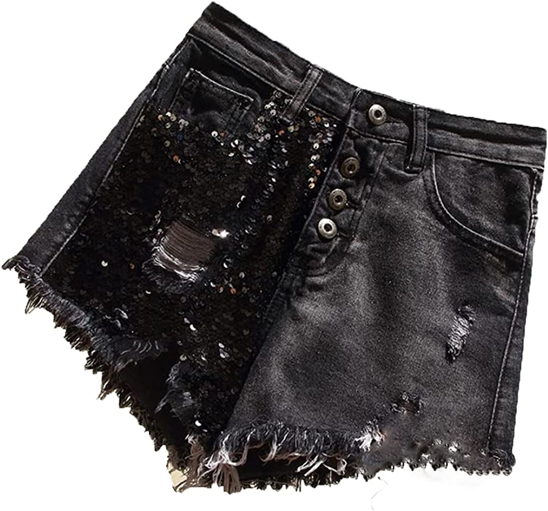 Do-Fashion Summer Women High Waist Solid Color Denim Hole Sequined Spliced Casual Loose Shorts Jeans