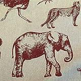 Werthers Stoffe Stoff Meterware Baumwolle Natur rot Elefant