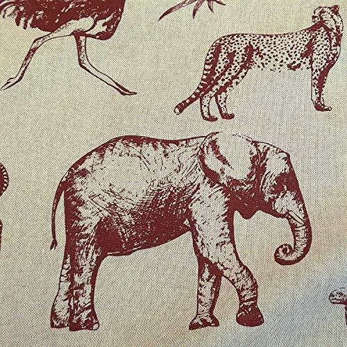 Werthers Stoffe Tela de algodón por metros, diseño de elefante, color rojo, zebra, guepardo, animales, zoo, decoración, fácil de limpiar