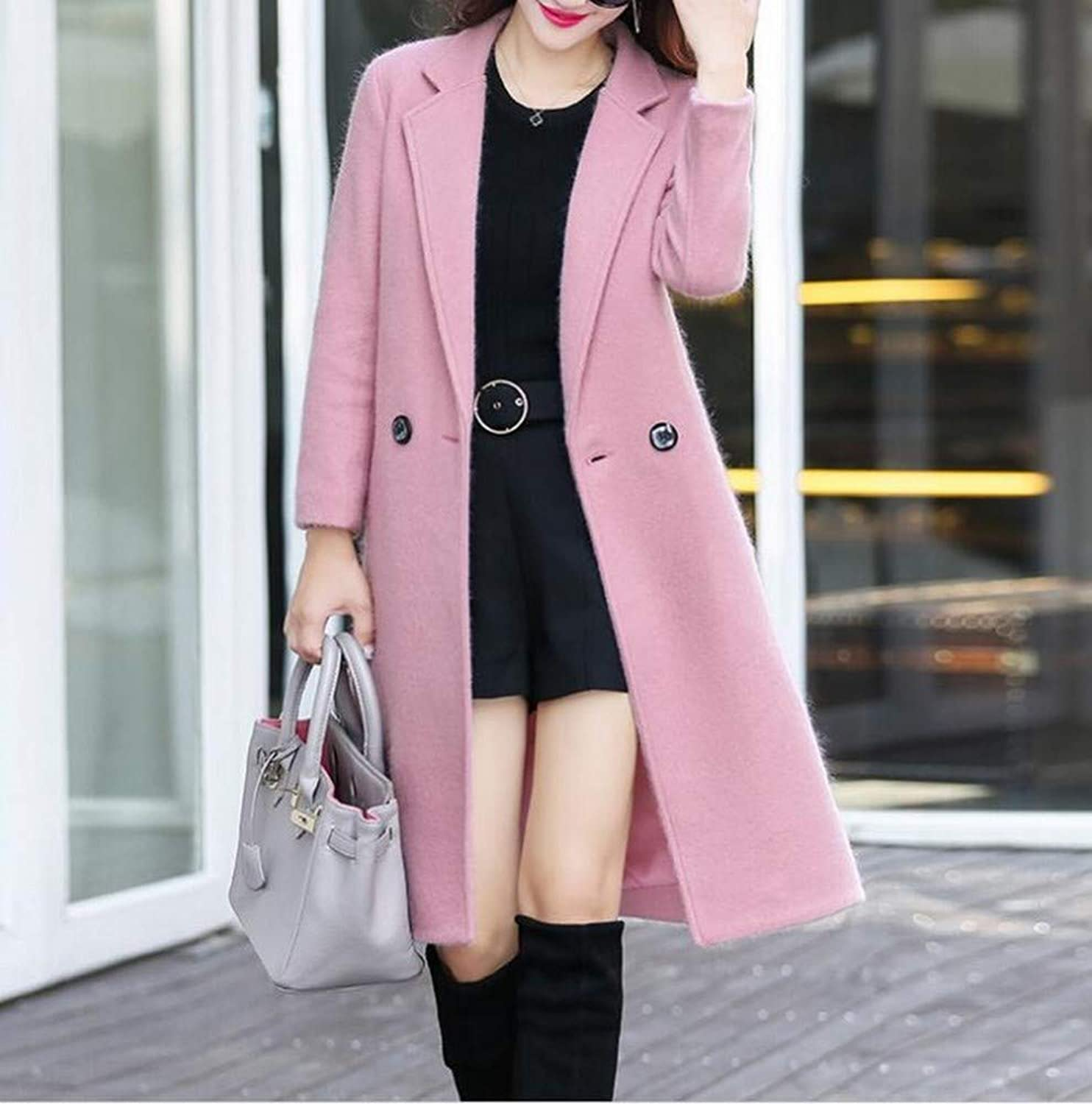 Coat Jacket, Woolen Coat, Autumn and Winter Woolen Coat, Female Long Section Fashion Slit Temperament Woolen Coat, Slim Coat XQY