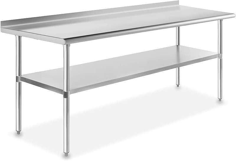 GRIDMANN NSF Stainless Steel Commercial Kitchen Prep Work Table W Backsplash 30 In X 72 In