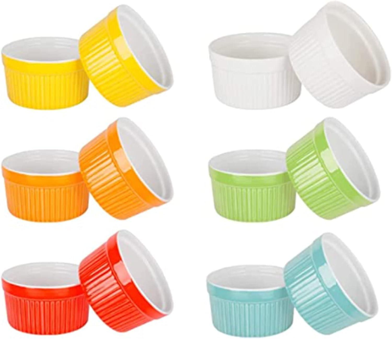 VINILITE Set 12 Moldes para Soufflé Cuencos de Cerámica para el Horno Cuencos para Postres Tazón de Creme Brulee Ramekin Porcelana 250 ml
