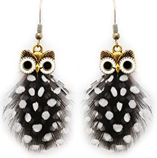 Fashion Handmade Owl Pattern Peacock Feathers Earrings (DAR0000243)