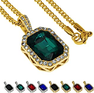 ZeaLian Hip Hop Necklace Iced Out Crystal Pendant Jewelry Gemstone Zirconia with Stainless Steel Cuban Chain Silver/Gold P...