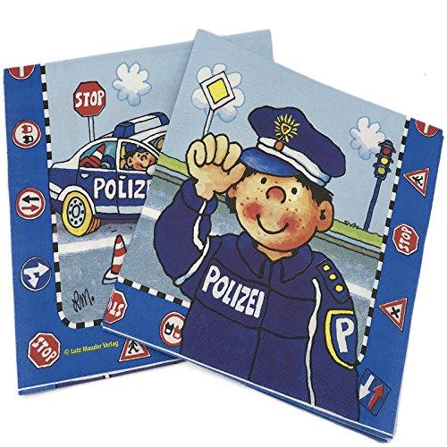 20 Papier-Servietten * POLIZEI - PAUL DER POLIZIST * für Kindergeburtstag und Mottoparty // Kinder Geburtstag Police Polizeiauto