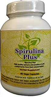 Spirulina Plus (Ayurvedic Plant Protien Supplement) 90 Vege Capsules, 1600 Mg Each - Concentrated