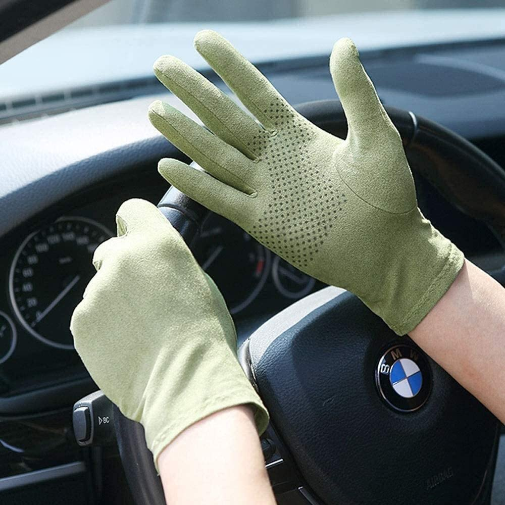 KEKEYANG Men and Women Suede Gloves Non Slip Sweat Absorption Glove Outdoor Mountaineering Touch Screen Gloves Driving Gloves Unisexcycling Glove Gloves Mittens (Color : Green, Size : Small)