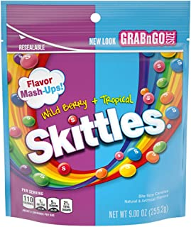 SKITTLES Mash-Ups Wild Berry and Tropical Candy, 9-Ounce Bag
