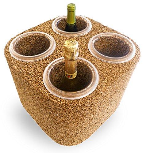 Greencorks, Eco FRIGO da 4 Bottiglie della Collezione GLACETTE. Refrigerante in Sughero; Ottimo Isolante. Variante in Sughero Biondo. Base di 34 X 34 cm e Altezza di 27 cm.