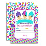 90's Trolls Birthday Party Invitations for Girls, 20 5'x7' Fill In Cards with Twenty White Envelopes by AmandaCreation