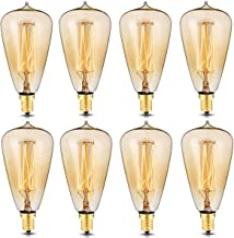 KINGSO 8 Pack E12 Vintage Edison Light Bulbs 40W 110V Antique Dimmable Nostalgic Tungsten Filament Candelabra Base Incandescent Lamp Squirrel Cage Style Bulbs ST48 for Home Light Fixtures