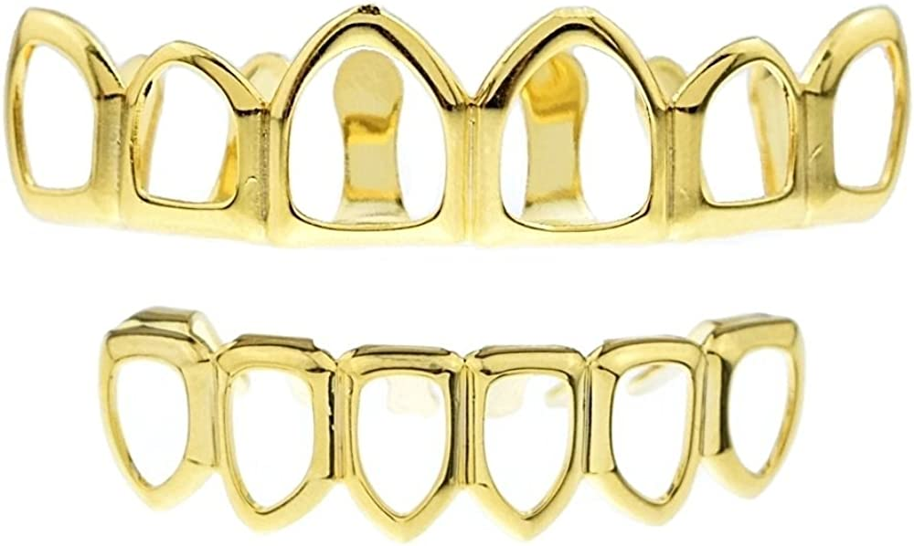 El Paso Mall 14k Gold Plated Open Face Grillz Inventory cleanup selling sale Tooth Row Top Six Bottom Set