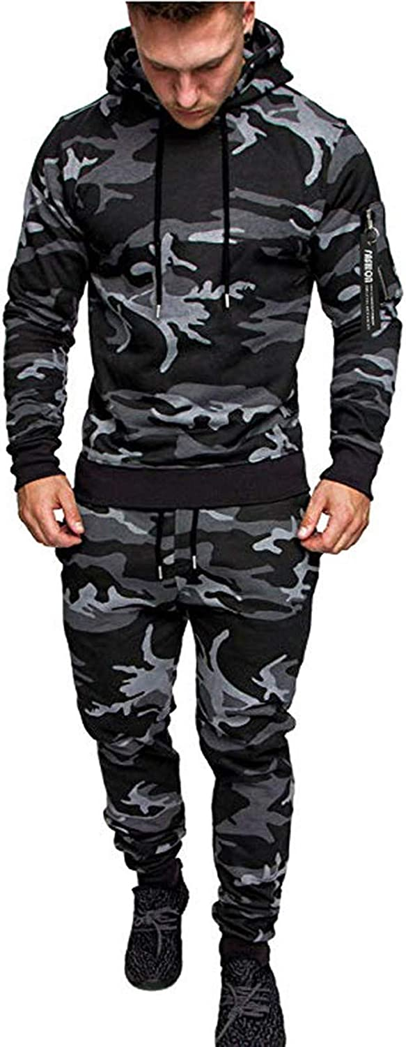 Maryia Mens Camo Tracksuit Sets 2 Piece Hoodie Sweatsuit Casual Comfy Warm Jogging Sports Pullover Suit