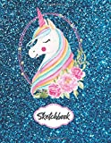 Sketchbook: Cute Unicorn On Blue Glitter Effect Background, Large Blank Sketchbook For Girls, For Drawing, Sketching & Crayon Coloring (Kids Drawing Books)