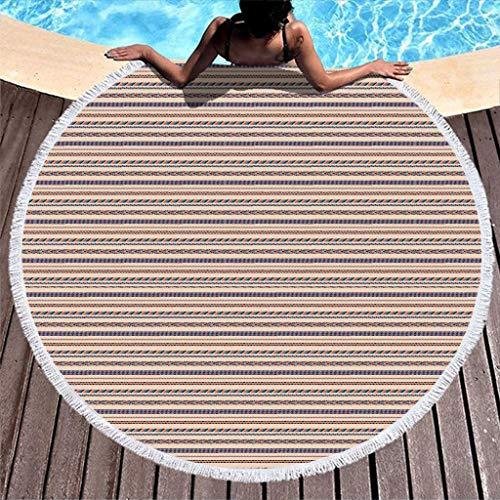RQPPY Round Quaste Strandtuch Beach Blanket Streifen Muster Leicht Schwimmen Yogamatte Picknick Matte Frottee Picknick Tagesdecke Schal 150CM