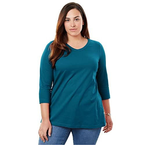 ad9e232c348 Woman Within Plus Size Perfect V-Neck Trhee-Quarter Sleeve Tee