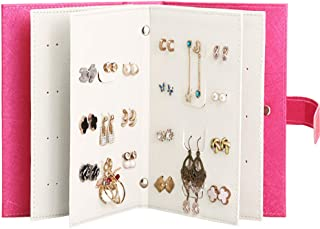 Yerwal Earrings Organizer Book-Portable Stud Hook Dangly Earring Holder-Pu Leather Earring Storage Case-42 Pairs-Rose Red