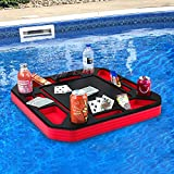 Polar Whale Floating Poker Table Red and Black Game Tray for Pool Beach Party Float Lounge Durable Foam 23.5 Inch Chip Slots Drink Holders with Waterproof Playing Cards Deck UV Resistant