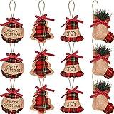 TaoToa Adornos de árbol de arpillera para colgar, decoración de Navidad con forma de campana