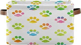 Tropicallife Panier de rangement F17 - Motif pattes de chien et chat - Boîte de rangement avec poignée - Pliable - En toil...