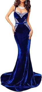 Velvet Mermaid Evening Gown - Sexy Formal Lace Velvet Long Mermaid Blue Evening Prom Dress