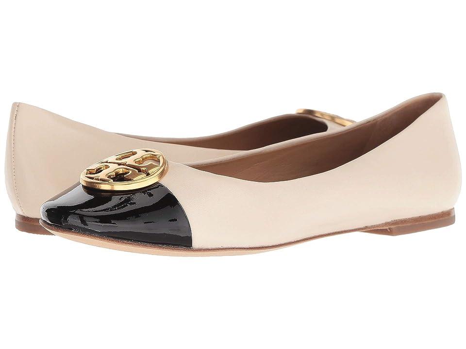Tory Burch Chelsea Cap-Toe Ballet (New Cream/Perfect Black) Women