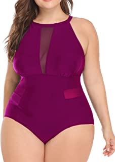 Woman Plus Size Swimwear One Piece Swimsuits High Neck Mesh Tummy Control