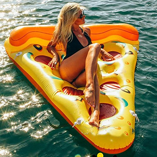 Hinchable Colchonetas Pizza Inflable Rebanada Gigante Piscina Piscina Tenedor Del Juguete De Agua Pizza Gigante Amarillo Flotante Cama Balsa Natación Anillo Colchón De Aire Barco yellow-180*130*25cm