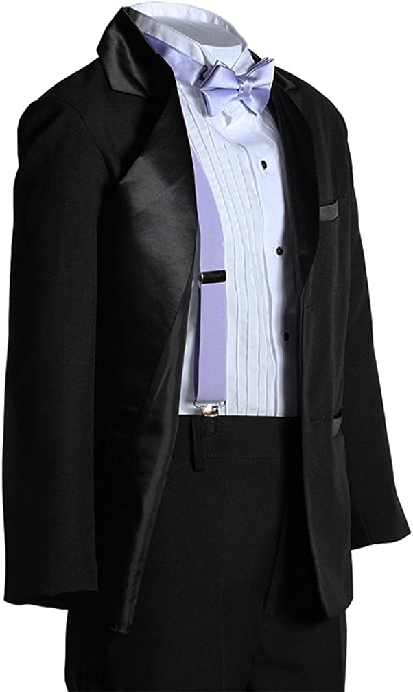 Kids Two Button Notch Tuxedo with Lavender Suspender Bow Tie Set