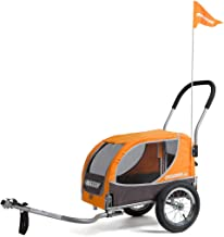 Croozer Premium Bike Trailer for Small Dogs, The Mini for both Cycling and Strolling up to 45lb Dogs - Orange/Grey