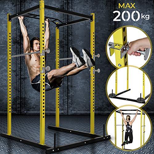 Physionics Rack Palestra - Barra per Trazioni Multifunzione, Attacco per Bilanciere, Carico Massimo 200 kg - Gabbia Allenamento, Power Squat Rack