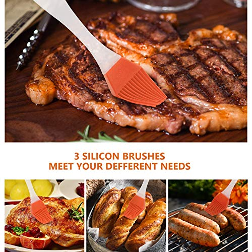 Product Image 5: Tongs for Cooking, SoupStall 4 Kitchen Tongs for Cooking With Heat Resistant Silicone Tip Plus 4 Grill and BBQ Basting Brushes Set, BPA Free Non-Stick Stainless Steel Locking Tongs and Non-Slip Handle