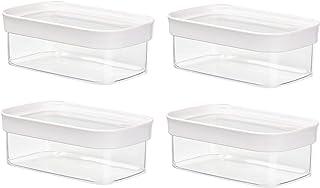 Emsa 4er Set Stapelbare Vorratsdose für Trockenvorräte, Volumen 0.45 Liter, Rechteckig, Weiß/Transparent, Optima 513556 x 4