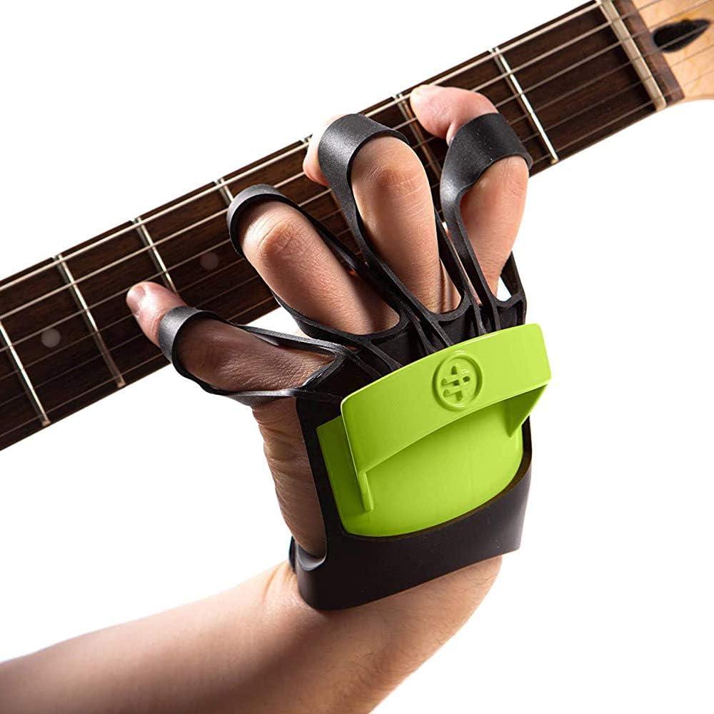 Finger Fitness Pro - Ejercitador Entrenador de Manos y Dedos - Ejercicios para Guitarra Piano Saxofón Fortalecedor - Única en el mundo: se lleva en el dorso de la mano dejando la palma libre