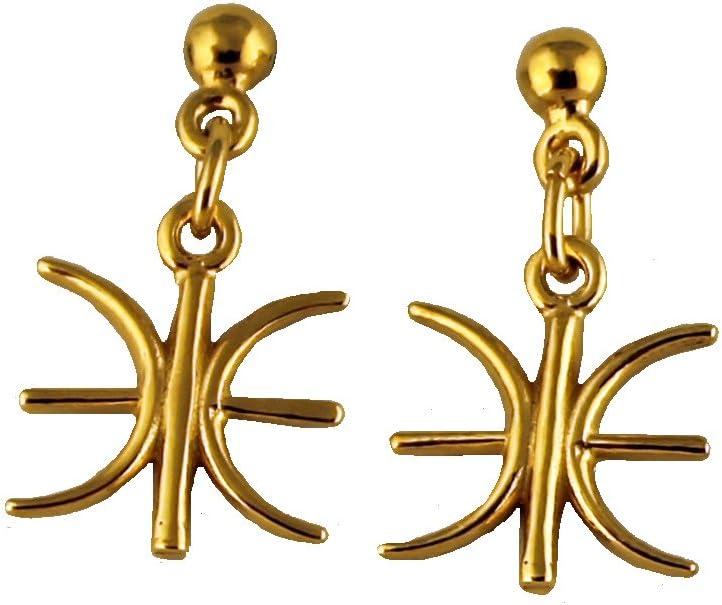 Ancient Greek Gold Plated Delphic Earrrings, Made In Greece