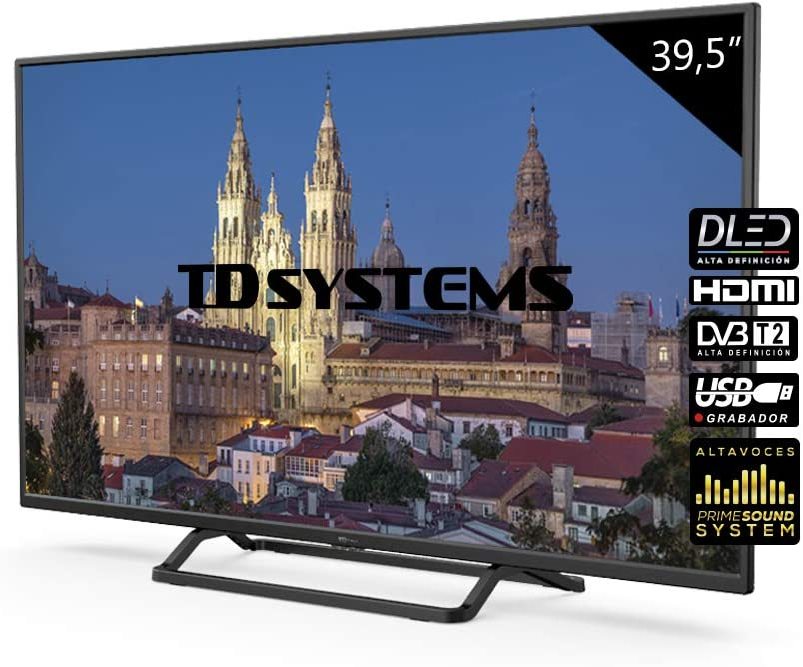 Television 39,5 Pulgadas, 3X HDMI, VGA, USB, 1100 PCI Hz, Grabador Reproductor, DVB-T2/C/S2 Modo Hotel - Televisores TD Systems K40DLX10F - TDsystems