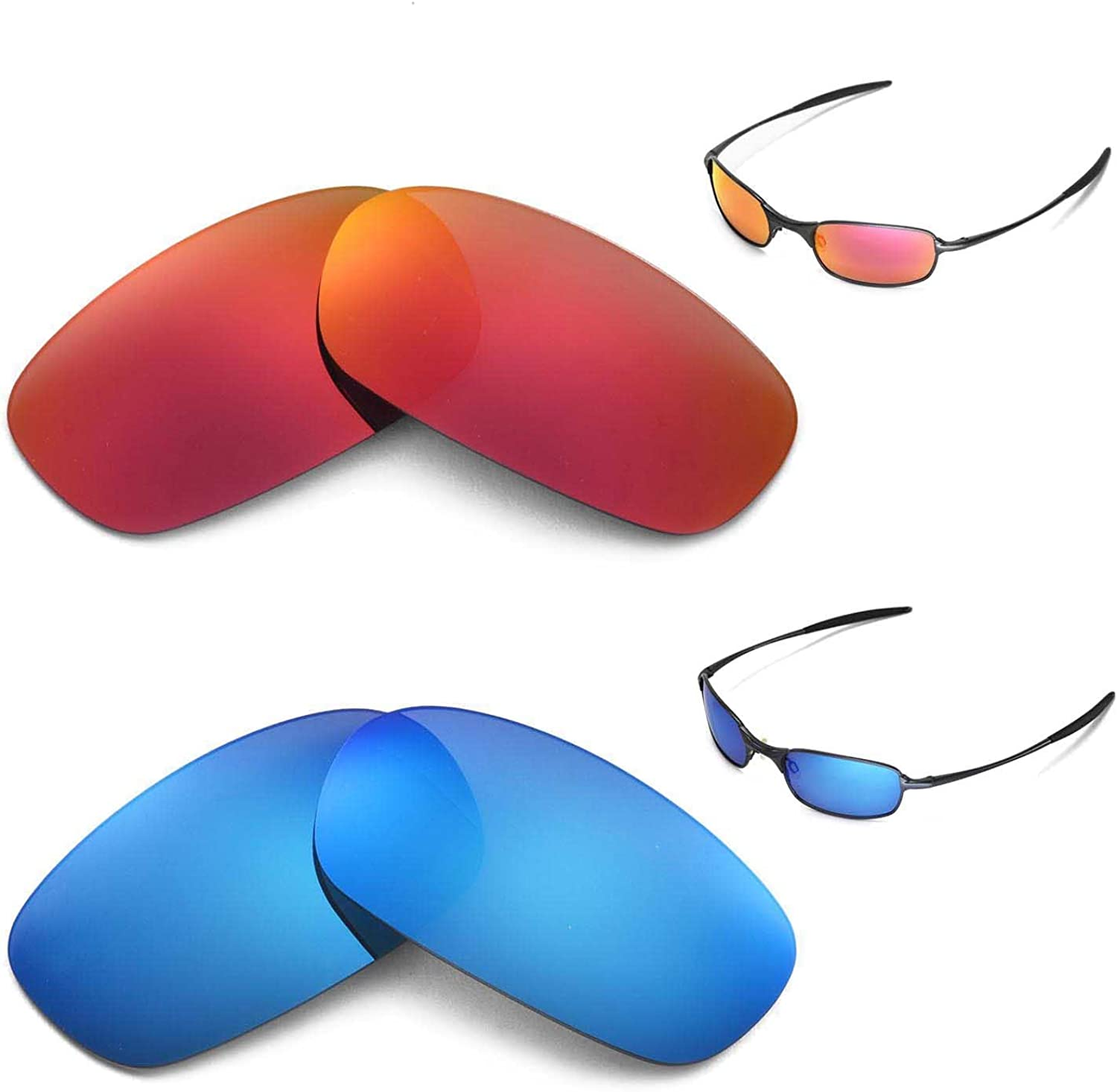 Selling New Walleva Seattle Mall Polarized Fire Red + Blue Squa For Lenses Ice Oakley