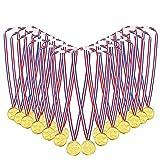 Medallas Niños,Medallas Deportivas 48 Piezas Plástico Medallas Doradas para Niños para Día del deporte para niños Fiesta Juego Juguetes Premios Premios