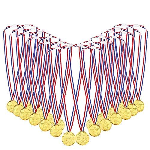 Byou Gold Medaillen,Kinder Gold Kunststoff Golden Awards mit Bändern zum Kindersporttag Party Spiel Spielzeuge Preise Auszeichnungen 24packs