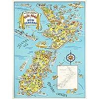 Map Zealand North South Island Tourism Art Print Poster Wall Decor 12X16 Inch 地図島観光ポスター壁デコ