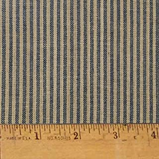 Heritage Navy Blue Stripe Homespun Cotton Plaid Fabric by JCS - Sold by The Yard