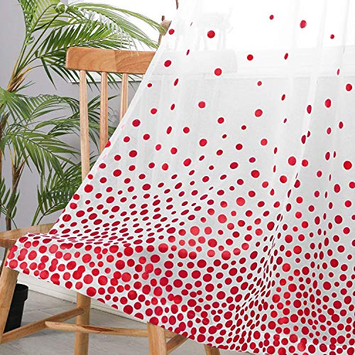 Hiasan Polka Dots Foil Printed Sheer Curtains for Living Room - Faux Linen Grommet Voile Confetti Window Curtains for Bedroom and Kids Room, 52 x 84 Inch Long, Red, Set of 2 Curtain Panels