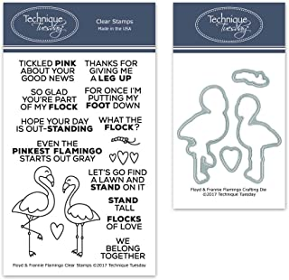 Floyd and Frannie Flamingo Clear Stamps with Matching Metal Dies | Clear Rubber Stamps | Photopolymer Stamps | Die Cuts | Craft Dies | Card Making Supplies
