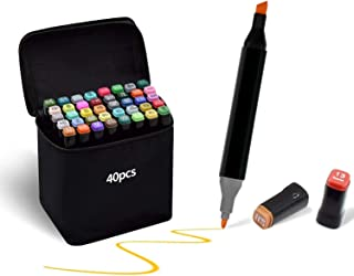 Marcatore 40 colori, Marker Pen Pennarello Certificazione SGS Set di Pennarello Acquerello a Doppia Punta, Pennarelli Graf...
