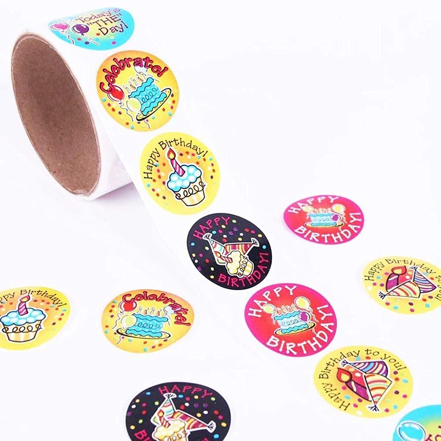 Konsait Birthday Stickers Roll, 300pcs Happy Birthday Reward Stickers Self-Stick Labels for Cards, Envelopes, Craft, Decoration, Kids Birthday Party Favor Supplies, Party Bag Filler