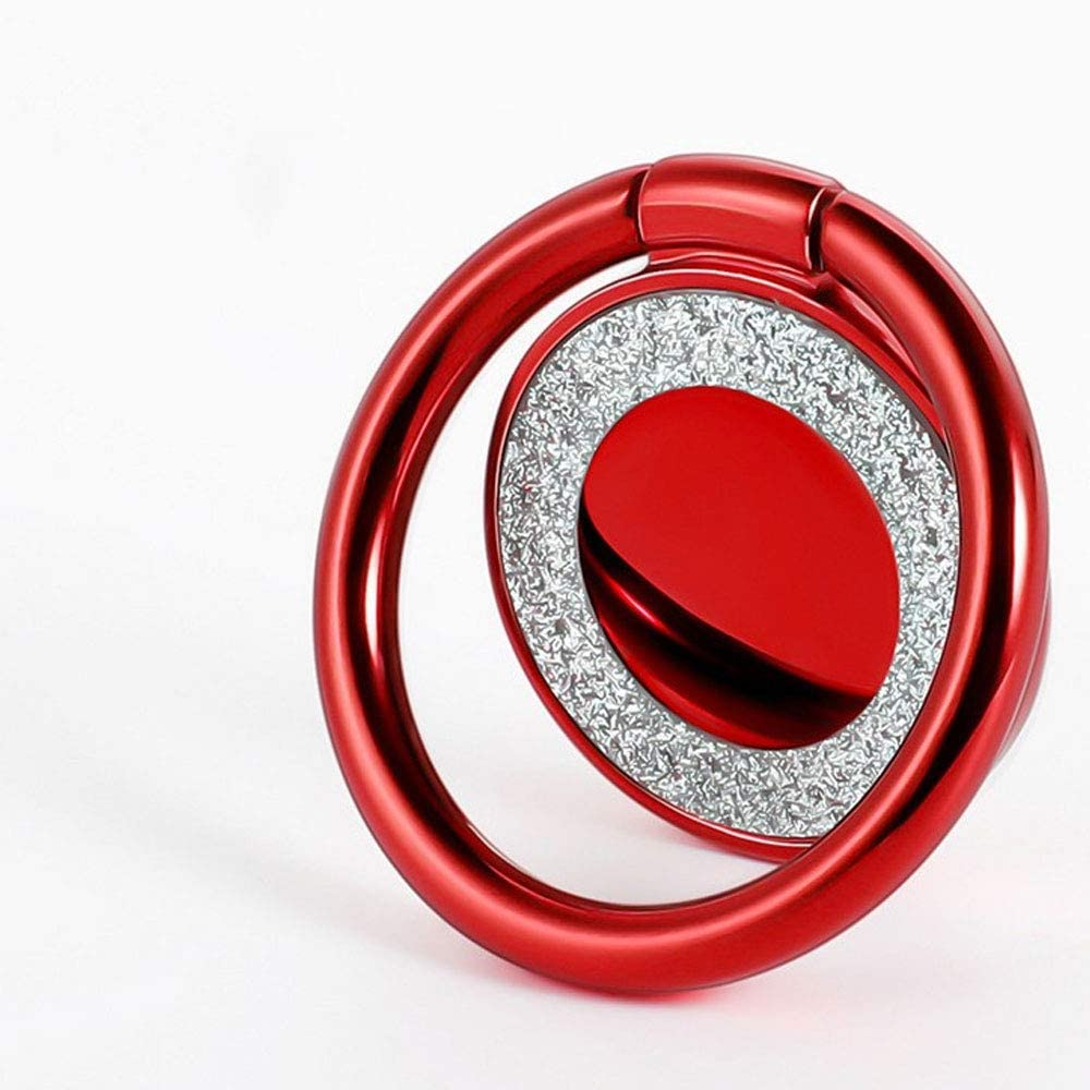 Mobile Phone Ring Holder - 360 degree Free Rotation Finger Kickstand- Cellphone Grip Holder- Compatible with All Smartphones (Red)