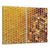 TMK | 2 placas protectoras de cocina de 2 piezas de 2 x 30 x 52 cm para cubrir la vitrocerámica de cocina eléctrica de inducción, protección contra salpicaduras, tabla de cortar miel