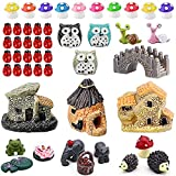 【What You Get】including 3 x stone house, 20 x ladybugs, 10x mushrooms, 3 x owls, 2 x Big eye snail, 1x bridge, 3pcs elephant decor, 3pcs frog decor, 3pcs hedgehog decor. This miniature fairy garden accessories are hand-crafted with quality resin, wat...